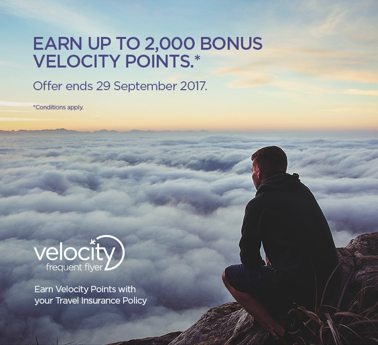 Earn up to 2,000 bonus velocity points.* Offer ends 29 September 2017. *Conditions apply.